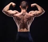 Homem muscular na mostra do estúdio o seu para trás imagem de stock
