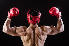 Homem muscular no conceito do encaixotamento Imagem de Stock Royalty Free