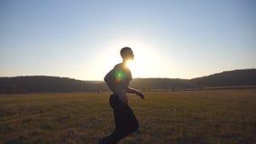 Homem muscular novo que corre através do campo com paisagem bonita no fundo Trens masculinos do atleta na natureza soldado video estoque