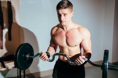 Homem muscular que dá certo no gym que faz exercícios com barbell, Abs despido masculino forte do torso fotografia de stock