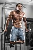 Homem muscular que dá certo no gym que faz exercícios em barras paralelas, Abs despido masculino forte do torso imagem de stock