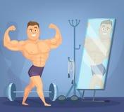 Homem muscular que levanta uma parte dianteira do espelho Halterofilista que está na pose estática Fotos de Stock Royalty Free
