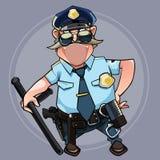 Homem mustached dos desenhos animados em um uniforme da polícia com uma vara Imagens de Stock