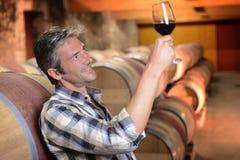 Homem na adega de vinho imagens de stock royalty free