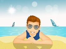 Homem na areia na praia ilustração do vetor