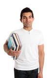 Homem na biblioteca, na livraria ou no estudante Fotos de Stock Royalty Free