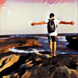 Homem na borda do penhasco pelo mar Pose aberta dos braços O céu e o oceano ajardinam no estilo corajoso da pintura ilustração do vetor