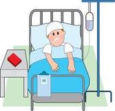Homem na cama de hospital Fotos de Stock