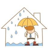 Homem na casa do telhado do escape ilustração stock