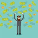 Homem na chuva fora do dinheiro Ilustração do vetor Imagem de Stock