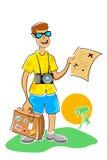 Homem na excursão com mapa ilustração do vetor