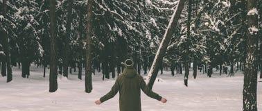 Homem na floresta Fotografia de Stock