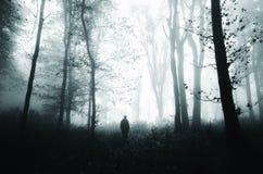 Homem na floresta misteriosa de Dia das Bruxas Fotos de Stock