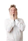 Homem na frustração, na raiva e em gritar Fotografia de Stock