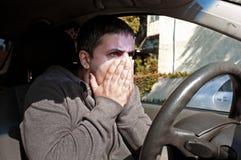 Homem na incredulidade travado no acidente Fotografia de Stock Royalty Free