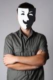Homem na máscara de sorriso do teatro imagens de stock royalty free