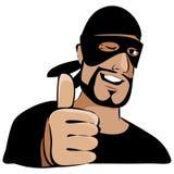 Homem na máscara preta com polegar acima Fotografia de Stock Royalty Free