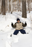 Homem na neve Foto de Stock Royalty Free