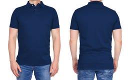 Homem na obscuridade vazia - polo azul de dianteiro e traseiro Imagens de Stock Royalty Free
