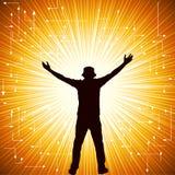 Homem na parte superior - alcances para o sol ilustração royalty free