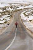 Homem na parte superior da na caminhada da montanha Imagem de Stock