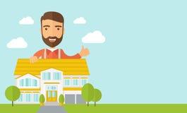 Homem na parte traseira do plano da estrutura da casa ilustração do vetor