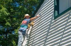 Homem na pintura da escada Imagem de Stock Royalty Free