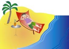 Homem na praia Ilustração do Vetor
