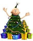 Homem na árvore e nos presentes de Natal Imagens de Stock Royalty Free