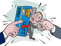 Homem na trituração do débito do cartão de crédito ilustração stock