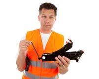 Homem na veste da segurança Fotografia de Stock