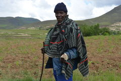 Homem nativo do Basotho da região de Butha-Buthe de Lesotho Foto de Stock