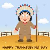 Homem nativo do dia da ação de graças com lança Imagens de Stock