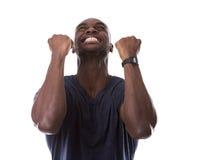 Homem negro considerável excitado com excitamento fotografia de stock royalty free