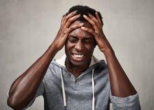 Homem negro da depressão fotografia de stock royalty free