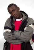 Homem negro novo com olhar duvidoso Foto de Stock Royalty Free