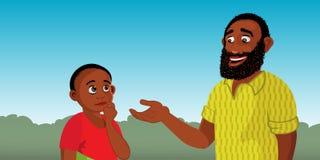 Homem negro que explica à criança ilustração stock
