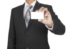 Homem negro que mostra o cartão Fotografia de Stock Royalty Free