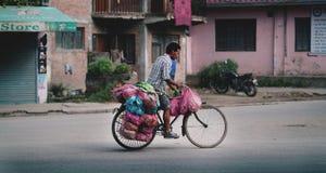 Homem nepalês que monta o seu bicicleta completamente dos vegetais para vender Acros Imagem de Stock