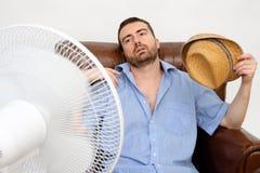 Homem nivelado que sente quente Fotografia de Stock Royalty Free