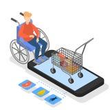 Homem no alimento de compra da cadeira de rodas na loja em linha ilustração stock