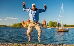 Homem no ar Foto de Stock Royalty Free