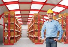 Homem no armazém Fotos de Stock