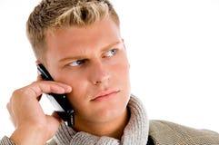 Homem no atendimento de telefone fotografia de stock royalty free
