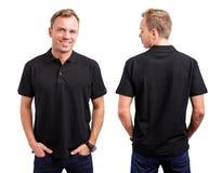 Homem no botão preto acima da camisa Imagens de Stock