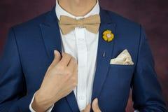 Homem no bowtie azul do terno, broche, lenço Fotografia de Stock Royalty Free
