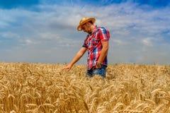 Homem no campo do centeio no céu nebuloso azul Fotos de Stock Royalty Free