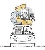 Homem no carro & no movimento ilustração stock