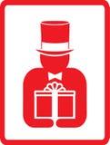 Homem no chapéu com presente Imagens de Stock Royalty Free