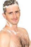 Homem no chuveiro fotos de stock